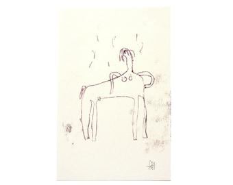 "ORIGINAL MONOTYPE, female centaur, 5.3""x8.3"" (DIN A5), Contemporary Figurative Hand Drawing Print Art"
