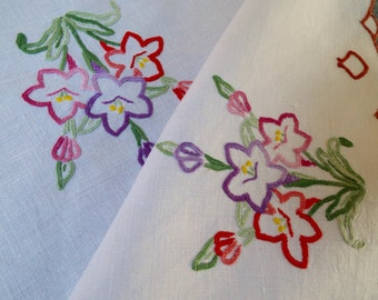 Tea tray cloth, vintage linen tablecloth. 1950s English linen tea tray cloth with hand embroidered pink and purple crocus flowers. Perfect