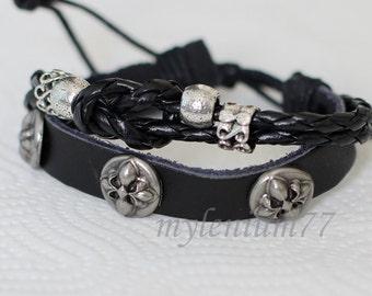147 Men bracelet Women bracelet Fleur de lis bracelet Beads bracelet Leather bracelet Braided bracelet Woven bracelet Fashion bracelet