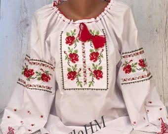 Vyshyvanka Ukrainian Embroidered Blouse , Folk Blouse