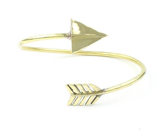 Arrow Brass Bracelet, Bangle, Lower Arm Cuff, Geometric, Boho, Bohemian, Gypsy, Festival Jewelry, Minimal, Western