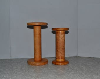 Wood Textile Bobbin ~ Industrial Sewing Spools ~ Candle Holders