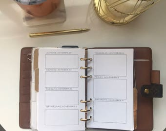 Personal Sized Weekly Agenda Inserts