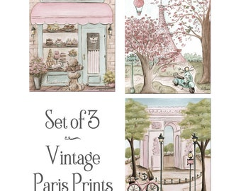 Paris Bedroom Decor Blush Pink, Set Of 3, Personalized Baby Girl Gift, Laduree Patisserie, Eiffel Tower, Arc, Vintage, Shabby Chic, 6 Sizes