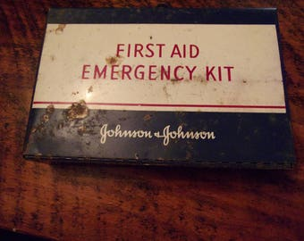First aid emergency kit vintage retro Johnson and Johnson metal box advertising bathroom decor wall decor shelf travel medical supplies