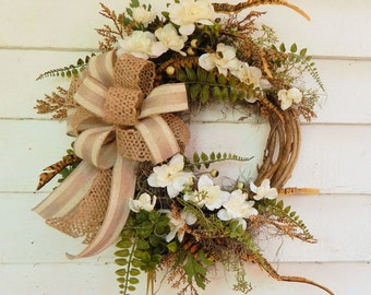 "Classic Front Door Wreath ""Moonbeam"" Spring Wreath, Country Cottage Wreath,Year Round Wreath, Delphinium Wreath, Ivory Wreath, Linen Bow"