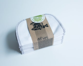 Organic Cotton Flannel Cloth Wipes with Organic Cotton Thread -   Organic Wipes - Double Layer --   DOVE GREY GRAY Thread
