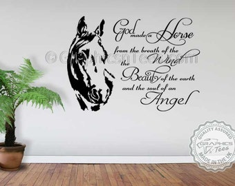Horse Wall Sticker, God Made A Horse Wall Sticker Quote Decor Decal, Equestrian  Equine Quote,
