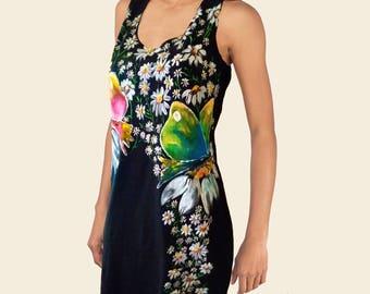 Hand Painted Dress, Butterflies Dress, BUTTERFLIES Dresses, Hanpainted Clothing, Summer Hand Painted Butterfly Dress, Woman's Painted Dress