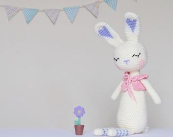 Crochet Amigurumi Sleepy Bunny PATTERN ONLY PDF Rabbit Stuffed Toy Doll Childrens Gift