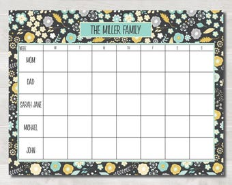 Personalized Family Calendar, Black Floral