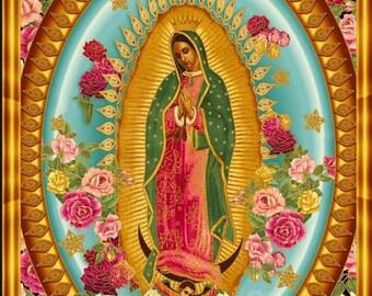 Robert Kaufman - Inner Faith - Virgin Mary of Guadalupe - Bright - B Creative - PANEL Fabric