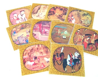 Ancient Chinese Paintings Coaster Set, Vintage Coaster Set