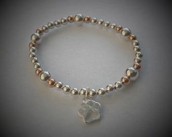 Sterling Silver and Rose Gold Pet Paw Print Beaded Bracelet