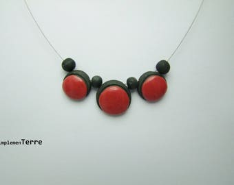 Red raku ceramic necklace