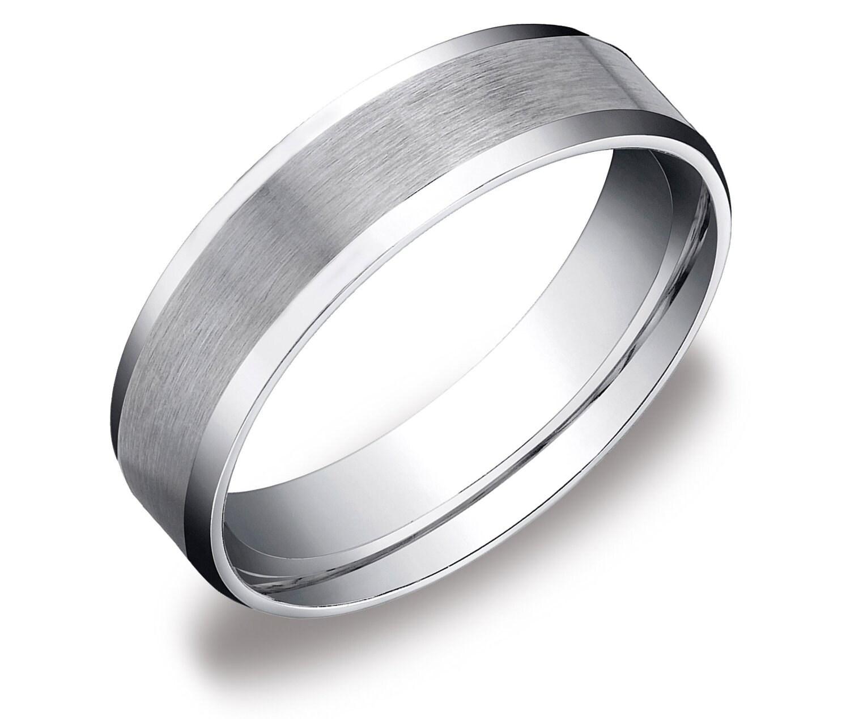 Mens Platinum Brushed Wedding Ring Comfort Fit Band 6mm Mens