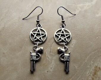 Supernatural Inspired Devil's Trap Pentagram and Colt Gun Charm Dangle Earrings