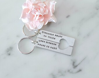 Distance Means So Little, When Someone Means So Much Keychain Set | Long Distance Relationship or Friendship | Birthday or Christmas Gift