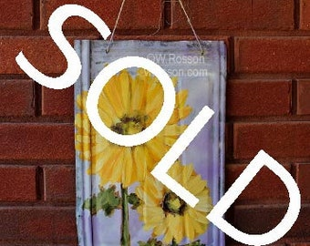 SOLD------------------Two Sunflowers, Painting, Garden, Patio, Porch, Outdoor, Art, Original Painting, Winjimir, Home Decor, Wall Art, Gift