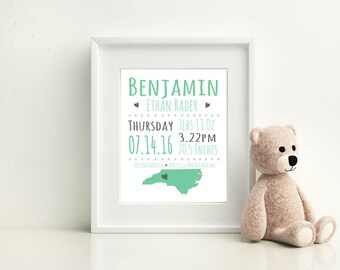 Custom Baby Announcement Wall Print, Newborn Gift, Baby Room Print, Christening Gift, Nursery Art