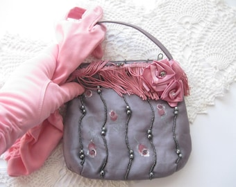 Handbag, Girls Upscaled Pretty Purse, Painted Decorated Little Purse, Evening Bag, Embellished Purse, by mailordervintage on etsy