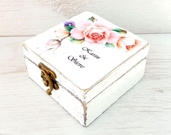 Personalized ring box, Wedding rustic bearer box, Ring holder pillow, Custom ring box, Wedding ring box, Wooden box,  Ring bearer box rose