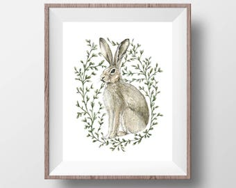 The Brown Hare - Watercolour Ink Pen Illustration Nature Fine Art Hare Watercolour Print, Animal Art - 8x10""