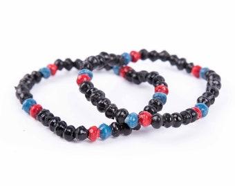 Kuma bracelet set - black, red and blue!