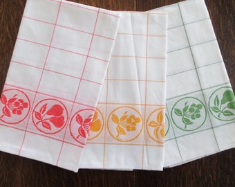 "3 Cotton Damask Napkins 22"" square Red Yellow Green Fruit Cherries Apples Pears Windowpane Check Woven German never used"