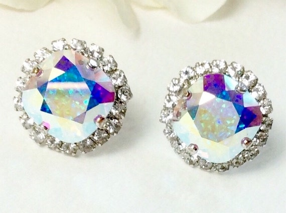 Swarovski Crystal 12MM Cushion Cut Stud Earrings With Halo - Gorgeous Earrings - Aurora Borealis With Crystal Halo- SALE 35. - FREE SHIPPING
