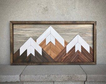 "Mountain Reclaimed Wood Wall Art - 13""x26"" - multiple sky options!"