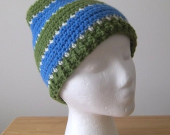 Hat - Striped Crochet Hat for Men or Boys in Green, Blue and White
