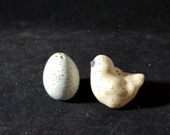 Pottery Chick and Egg Salt & Pepper Shakers