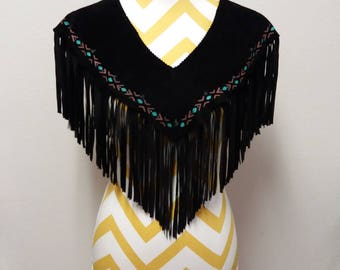 Vintage RICKY NELL Black Suede Fringed Leather Vest Shawl Native American design Made in USA