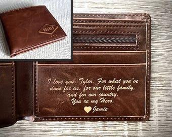 Boyfriend Gift - Personalized Mens Wallet - Husband Gift, Anniversary Gift for Him