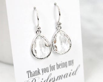Clear stone earrings, Clear earrings, Bridesmaid Gift, Wedding earrings, April birthstone earrings, Bridesmaid earrings, Maid of honor