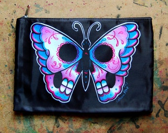 Cosmetic Bag Case | Day of the Dead Butterfly by Carissa Rose | Day of the Dead Tattoo Lowbrow Punk Goth Sugar Skull Flash