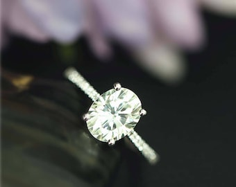 2.1ctw Forever Classic 7x9mm Charles & Colvard Oval Moissanite Engagement Ring Solid 14K White Gold Ring Wedding Ring Anniversary Ring