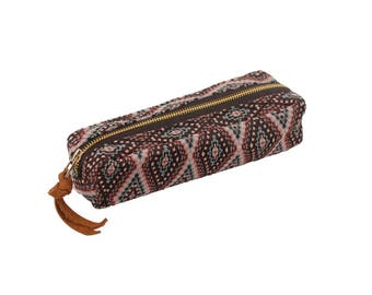 Pencil case / Leather / Ethnic fabric travel etui / Bag in bag / Pencil bag / School bag / Pen pouche / etui for pens and other Stationary