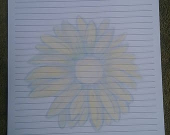 Stationery Letter Sheets / Lined Stationery Sheets / Sunflower Lined Stationery Sheets / Lined Writing Paper / Flower Writing Paper / Art