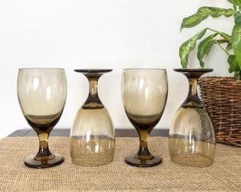 Set of 4 Vintage Gradient Smokey Amber Grey Stemmed Wine Glasses