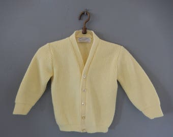 Child's Cardigan Sweater - Yellow Vintage Sweater - Toddler Vintage Cardigan - Robinit Sweater - Child's Vintage Sweater