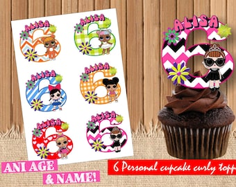 Digital Lol doll personalized toppers| Lol doll party birthday| printable Lol doll cupcake toppers| Lol dolls decor| Lol doll children party