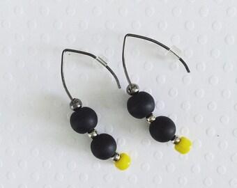 Neon Yellow Earrings, Drop Earrings, Dangle Earrings, Black and Yellow Earrings, Modern Earrings, Unique Earrings