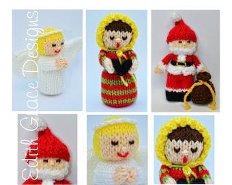 Christmas Toy Knitting Pattern, Doll Knitting Pattern, Christmas Angel, Christmas Carolers, Santa Claus, Amigurumi, Knit Doll, Rag Doll