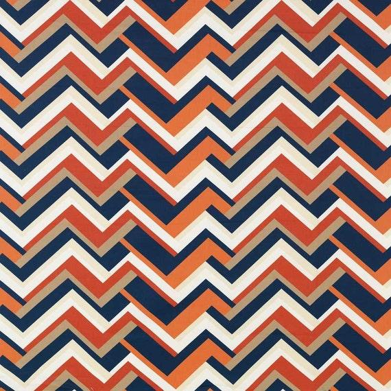 Blue Orange Upholstery Drapery Fabric Large Scale Chevron