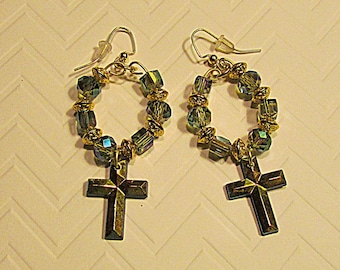 iridescent cross earrings-Czech bead earrings-aurora borealis earrings-one of a kind earrings-unique gift for her-color shifting earrings