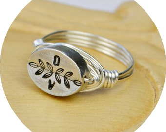 Personalized Two Tiny Initials and Leaves Ring- Pewter Bead and Sterling Silver Filled Wire Wrap Ring-Size 4, 5, 6, 7, 8, 9, 10,11,12,13,14