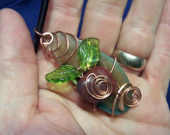 Large Copper Wire Wrapped Natural Agate Slice, With Red Jasper Accent and Green Glass