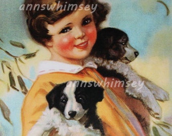 """Home Decor, Dog Art """"Arms Full"""", Little Girl With Arms Full of Puppies  #251"""